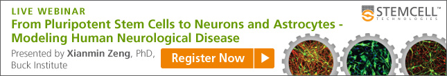 "Register for the Webinar ""From Pluripotent Stem Cells to Neurons and Astrocytes - Modeling Human Neurological Disease"""